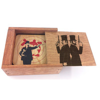 Spitfire Girl Gun Men Wood Box Coaster Set