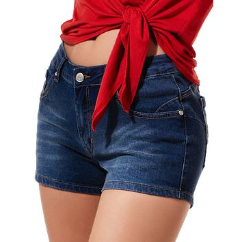 Fitted High Rise Push Up Denim Jean Shorts (CLEARANCE)
