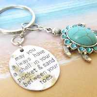 Sea Turtle Keychain, Beach Keychain, Shell in Pocket Keychain, Car Accessory, Turquoise Seaturtle Keyring