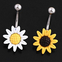 Honbay 2 Pcak 14 Gauge White and Yellow Petals Stunning Sunflower Belly Button Ring