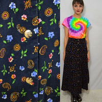 90s Paisley Skirt Floral Corduroy Long Button Front Hippie Soft Grunge Gypsy Boho Cute Flare Tea Length Hipster Fall Winter Vintage Clothing