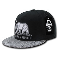 New CALIFORNIA REPUBLIC SNAPBACK HAT - Cali Bear Bandana Grey/Black