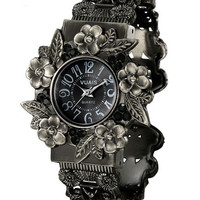 Vintage Hollow Out Floral Alloy Watch = 1946629956