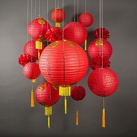 (Discontinued) 13-pc Chinese New Year Hanging Decoration Paper Lantern Combo Set