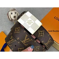 LV 2019 new classic old flower square buckle wild belt gold