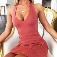 Summer New Fashion Solid Color Open Back Dress Women