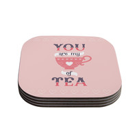 """Daisy Beatrice """"My Cup of Tea"""" Pink Purple Coasters (Set of 4)"""