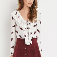 Feather Print Ruffled Blouse