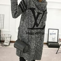 LV Hooded Sweater Knit Cardigan Jacket Coat