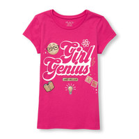 Girls Short Sleeves 'Girl Genius' Emoji Graphic Tee | The Children's Place