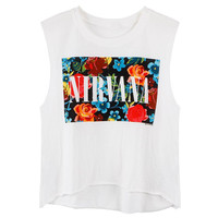 White Cropped Tank With Floral and Letter Print