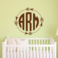 Rustic Monogram Wall Decal- Arrow Monogram Decal- Vinyl Monogram Personalized Initials Wall Decal Letters Kids Nursery Bedroom Decor M077