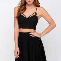 Crops and Robbers Black Lace Crop Top