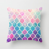 Rainbow Pastel Watercolor Moroccan Pattern Throw Pillow by micklyn