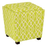 OSP Designs 2-Piece Ottoman Set with tray top in Abby Geo Lime Fabric