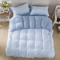 Blue and White Lines Super Soft Bed Set