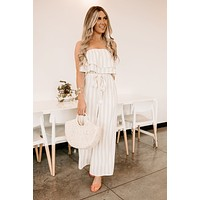 One Flight Away Striped Strapless Jumpsuit (Taupe)