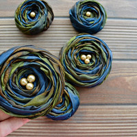 Brown - Green - Navy Marbled Fabric Roses Handmade Appliques Embellishments(5 pcs)