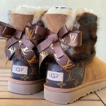 UGG x Louis Vuitton LV Fall/Winter New Style Plush Snow Boots Classic Stitching Leather Bowknot Medium Tube Solid Color Leather Men's and Women's Shoes Cotton Shoes