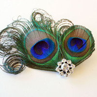 Patricia Fancy peacock feather hair clip by foryoubymenet on Etsy