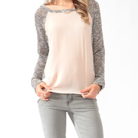 High-Low Knit Panel Top