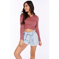Twist And Turn Long Sleeve Top (Wine)