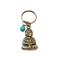 Buddha, Keychain, Sale, Brass, Bronze, Turquoise, Yoga, Buddhism, Meditation, Unique, Gift For Her or Him, Christmas, Stocking Stuffer