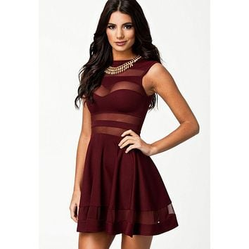 Maroon Red Mesh Panel Skater Dress - 4 Colour