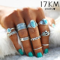 Creative 10PCS/Set Simple Vintage Metal Turquoise Geometric Ring Fashion Ladies Princess Girl Popular Alloy Goldplated Silver Rings Sets Accessories Gifts Gift 111901