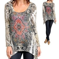 SexY WoMeNS ToP TuNiC Hi Low BLouSe SUBLiMaTioN TaTToo RHiNeSToNE LoNG SLeeVe M