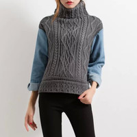 Cable Knit Paneled Turtleneck Ribbed Pullover Sweater