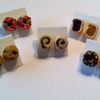 Assorted Treats Post Earring Collection, Food Earrings, Polymer Clay Jewelry
