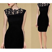 fhotwinter19 new hot sale sexy lace stitching sexy dress