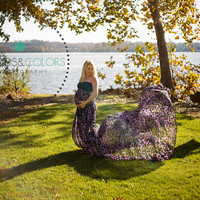 Pheobe One of a Kind Maternity Gown, Chiffon, Sweetheart Top, Maternity Photography Prop, Maternity Prop, Belly Dress, Gown with a train