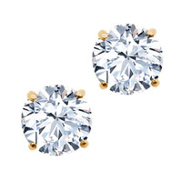 2.00 Ct Round 6mm Natural White Topaz 14K Yellow Gold Stud Women's Earrings