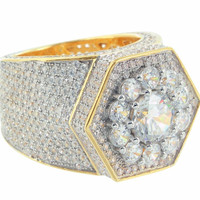Hexagon Shaped Mens 2 Tone Iced Out Ring