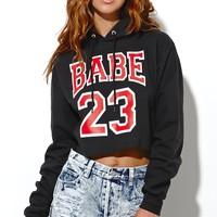 Petals and Peacocks Babe 23 Cropped Hoodie - Womens Hoodie - Black -