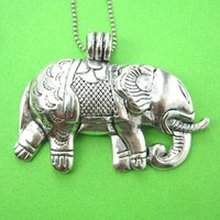 Large Elephant Animal Pendant Necklace in Silver   Animal Jewelry