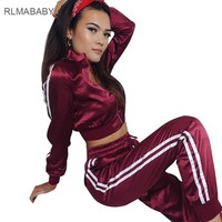 RLMABABY Casual Striped 2 Piece Set Long Jumpsuit Slim O Neck Long Sleeve Zipper Bandage Waist Rompers Women Jumpsuit Overalls
