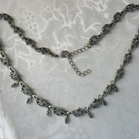 Vintage Pewter Hematite Stones Choker Necklace Designer Gift Collectibles Delicate Dainty