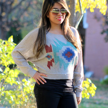 Tribal Print Sweater Top in Multi Color