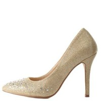 Glitter & Rhinestone Pointed Toe Pumps by Charlotte Russe