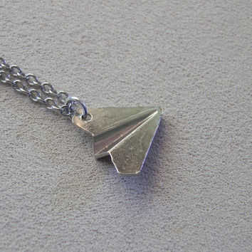 Necklace, One Direction inspired, Paper Plane Charm Pendant