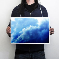 Indigo Sky 3 - Photograph Print, Deep Blue Storm Clouds, Wall Art Hanging, Boho Chic Bungalow Style Home Accent. In 8x10 11x14 16x20 20x30