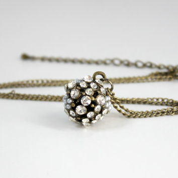 Vintage Style Antique Gold Ball Pendant with Clear Crystals and White Faux Pearls - Downton Abbey 20s Style Jewelry - Ready to Ship