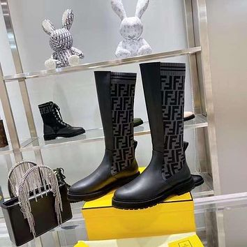 FENDI2021 Trending Women's men Leather Side Zip Lace-up Ankle Boots Shoes High Boots10090xf
