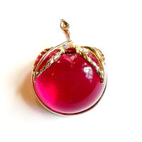 Vintage Sarah Coventry Lucite Apple Brooch - Burgundy - Broach Pin -Pink Red Magenta - Forbidden Fruit - Jelly Belly Inspired -