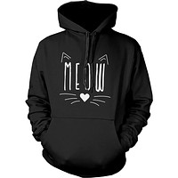 Meow Cute Kitty face Women's Hoodies Gift for Cat Lovers Hooded Sweatshirts
