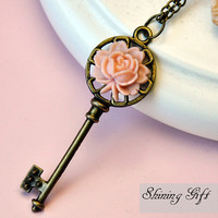 Antiqued Brass Key Necklace with resin rose flower by Shininggift