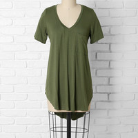 Olive Green High-Low V-Neck Tee
